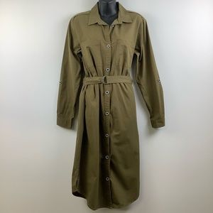 ONLY Brand Long Sleeve Belted Utility Dress in Green
